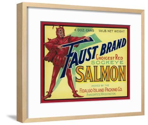 Anacortes, Washington - Faust Salmon Case Label-Lantern Press-Framed Art Print