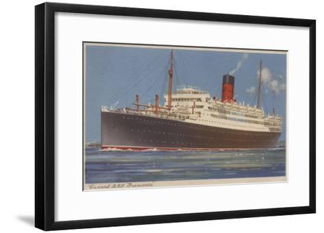 View of the Cunard R.M.L. Franconia Cruise Ship-Lantern Press-Framed Art Print