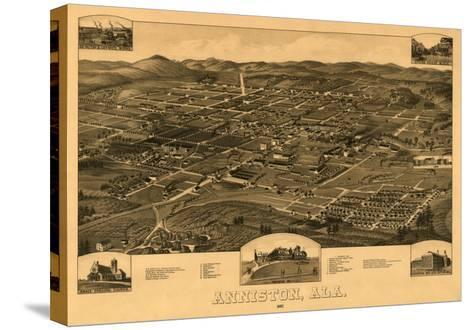 Anniston, Alabama - Panoramic Map-Lantern Press-Stretched Canvas Print
