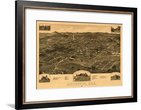 Anniston, Alabama - Panoramic Map-Lantern Press-Framed Art Print