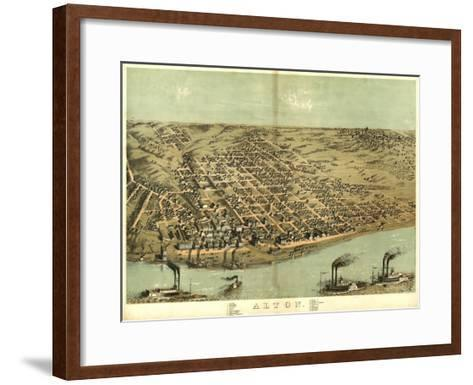Alton, Illinois - Panoramic Map-Lantern Press-Framed Art Print