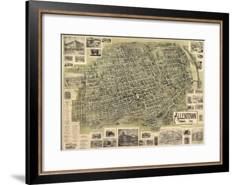 Allentown, Pennsylvania - Panoramic Map-Lantern Press-Framed Art Print