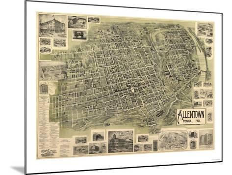 Allentown, Pennsylvania - Panoramic Map-Lantern Press-Mounted Art Print