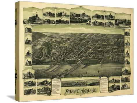 Atlantic Highlands, New Jersey - Panoramic Map-Lantern Press-Stretched Canvas Print