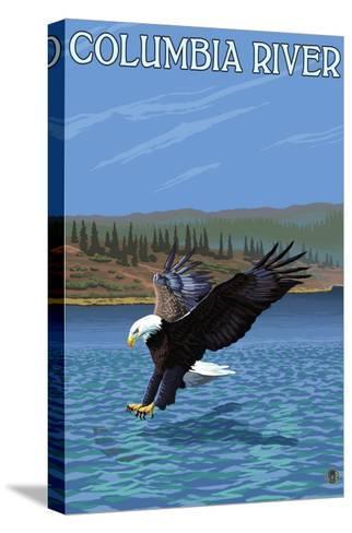 Columbia River, Washington - Eagle Diving-Lantern Press-Stretched Canvas Print