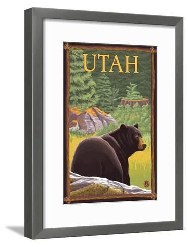 Black Bear in Forest - Utah-Lantern Press-Framed Art Print