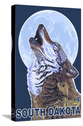 Gray Wolf Howling - South Dakota-Lantern Press-Stretched Canvas Print