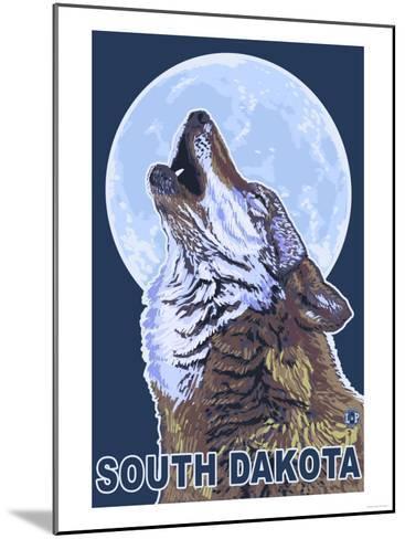 Gray Wolf Howling - South Dakota-Lantern Press-Mounted Art Print