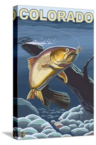 Cutthroat Trout Fishing - Colorado-Lantern Press-Stretched Canvas Print