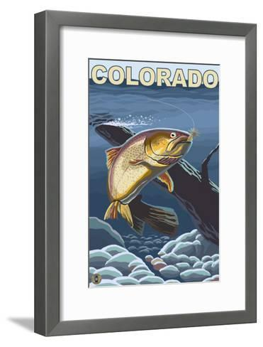 Cutthroat Trout Fishing - Colorado-Lantern Press-Framed Art Print