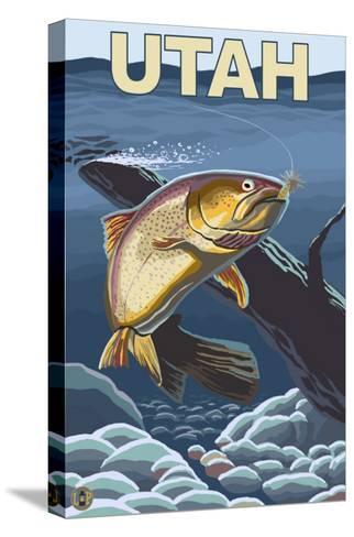 Cutthroat Trout Fishing - Utah-Lantern Press-Stretched Canvas Print