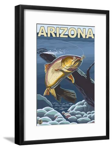 Cutthroat Trout Fishing - Arizona-Lantern Press-Framed Art Print