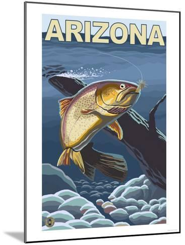 Cutthroat Trout Fishing - Arizona-Lantern Press-Mounted Art Print