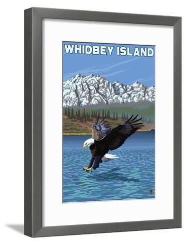 Whidbey Island, Washington - Eagle Fishing-Lantern Press-Framed Art Print
