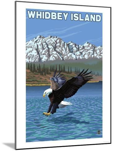 Whidbey Island, Washington - Eagle Fishing-Lantern Press-Mounted Art Print