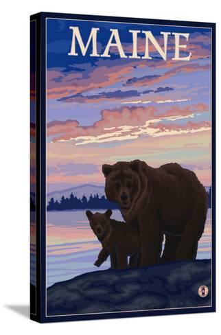 Maine - Bear and Cub-Lantern Press-Stretched Canvas Print