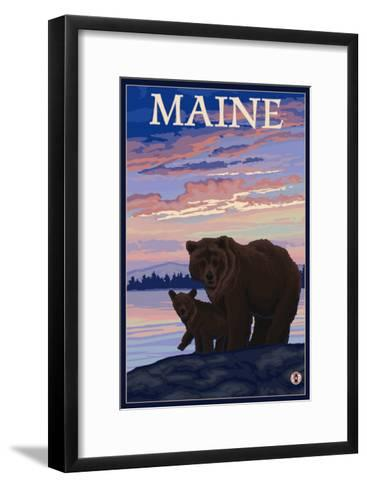 Maine - Bear and Cub-Lantern Press-Framed Art Print