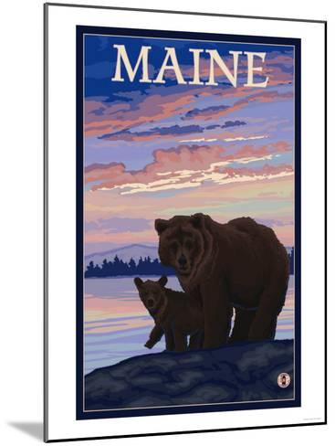 Maine - Bear and Cub-Lantern Press-Mounted Art Print