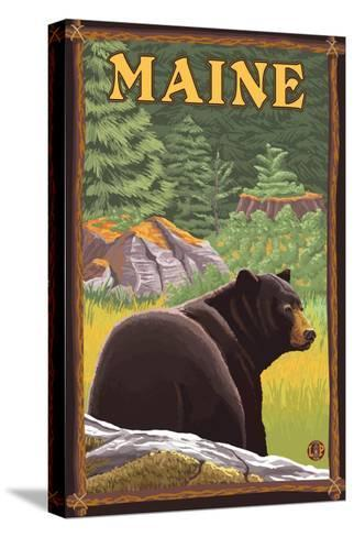 Maine - Black Bear in Forest-Lantern Press-Stretched Canvas Print