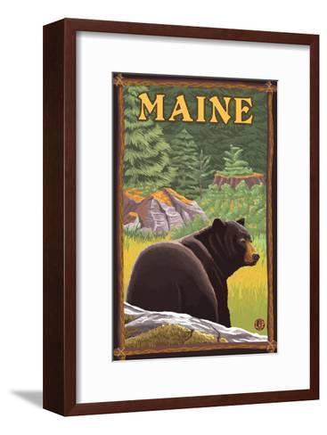 Maine - Black Bear in Forest-Lantern Press-Framed Art Print