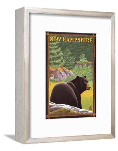 New Hampshire - Black Bear in Forest-Lantern Press-Framed Art Print