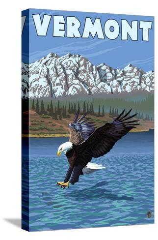 Vermont - Eagle Fishing-Lantern Press-Stretched Canvas Print
