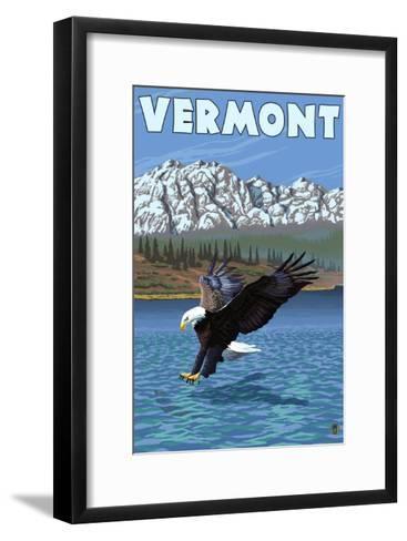Vermont - Eagle Fishing-Lantern Press-Framed Art Print