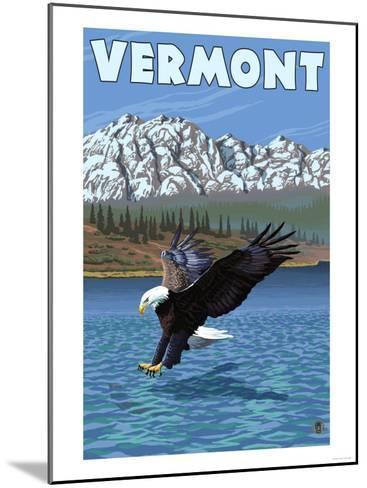 Vermont - Eagle Fishing-Lantern Press-Mounted Art Print