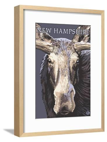 New Hampshire - Moose Up Close-Lantern Press-Framed Art Print
