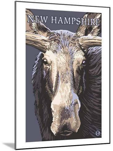 New Hampshire - Moose Up Close-Lantern Press-Mounted Art Print