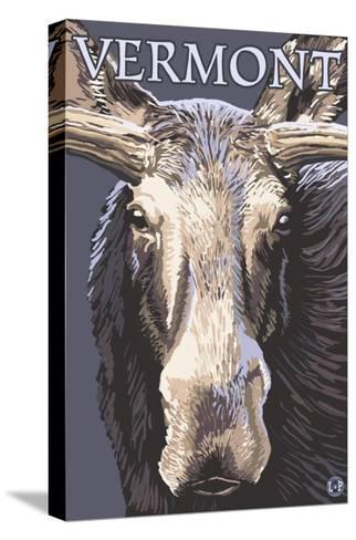 Vermont - Moose Up Close-Lantern Press-Stretched Canvas Print