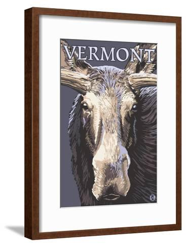 Vermont - Moose Up Close-Lantern Press-Framed Art Print