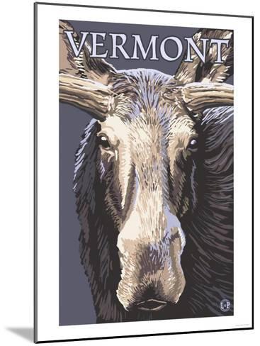 Vermont - Moose Up Close-Lantern Press-Mounted Art Print