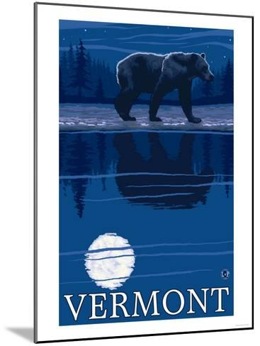 Vermont - Bear in the Moonlight-Lantern Press-Mounted Art Print