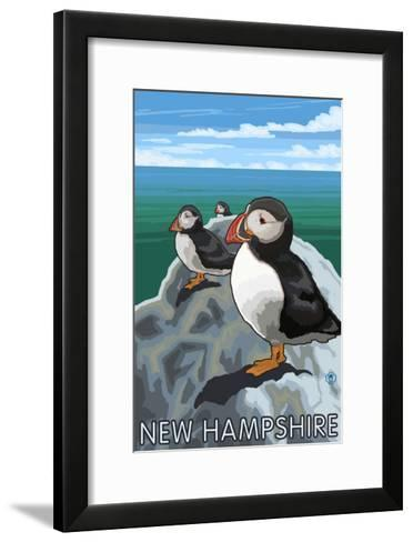 New Hampshire - Puffins Scene-Lantern Press-Framed Art Print