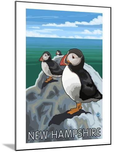 New Hampshire - Puffins Scene-Lantern Press-Mounted Art Print
