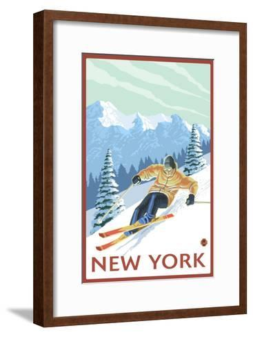 New York - Downhill Skier Scene-Lantern Press-Framed Art Print