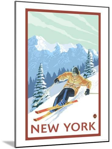 New York - Downhill Skier Scene-Lantern Press-Mounted Art Print