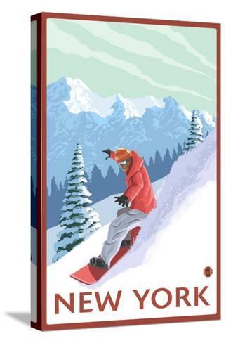 New York - Snowboarder Scene-Lantern Press-Stretched Canvas Print