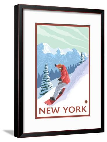 New York - Snowboarder Scene-Lantern Press-Framed Art Print
