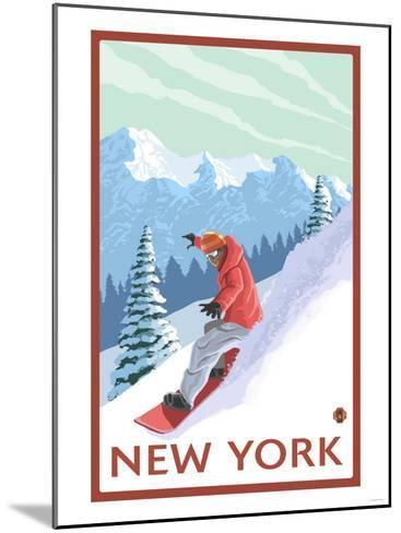New York - Snowboarder Scene-Lantern Press-Mounted Art Print
