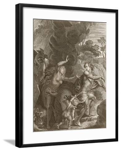 Orpheus, Leading Eurydice Out of Hell, Looks Back Upon Her and Loses Her Forever, 1731-Bernard Picart-Framed Art Print