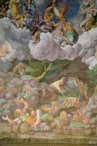 Olympus and Zeus Destroying the Rebellious Giants, Walls of the Sala Dei Giganti, 1530-32-Giulio Romano-Stretched Canvas Print