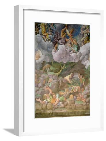 Olympus and Zeus Destroying the Rebellious Giants, Walls of the Sala Dei Giganti, 1530-32-Giulio Romano-Framed Art Print