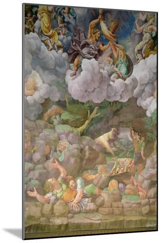 Olympus and Zeus Destroying the Rebellious Giants, Walls of the Sala Dei Giganti, 1530-32-Giulio Romano-Mounted Giclee Print