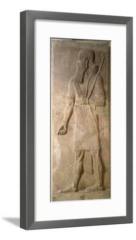 Relief of an Assyrian Warrior, from the Palace of Sargon II at Khorsabad, Iraq- Assyrian-Framed Art Print