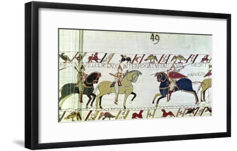 Duke William Asks Vital If He Has Seen Harold's Army, Detail from the Bayeux Tapestry, Before 1082--Framed Art Print