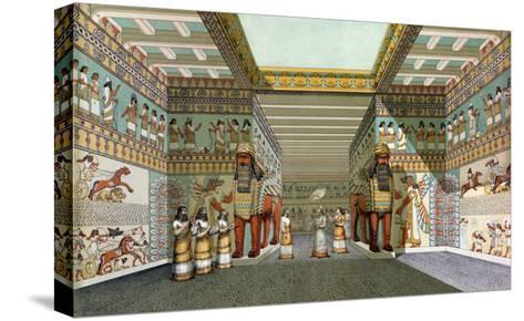 Reconstruction of the Hall of Assyrian Palace, Discoveries in the Ruins of Nineveh and Babylon--Stretched Canvas Print