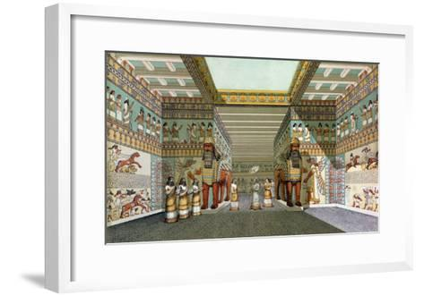 Reconstruction of the Hall of Assyrian Palace, Discoveries in the Ruins of Nineveh and Babylon--Framed Art Print