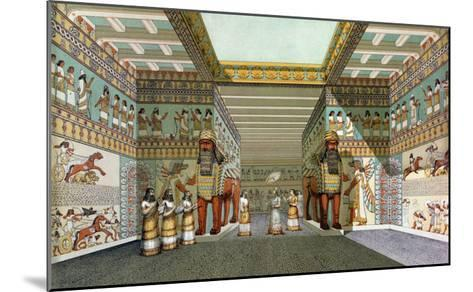 Reconstruction of the Hall of Assyrian Palace, Discoveries in the Ruins of Nineveh and Babylon--Mounted Giclee Print